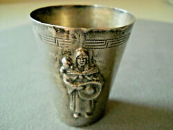 Native American Sterling Silver Navajo Woman And Child Etched Shot Glass Small Cup