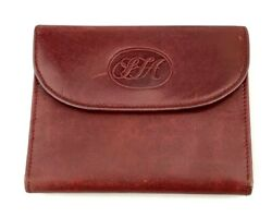 Saks Fifth Avenue Vintage Wallet Trifold Red Leather Made in Italy Monogram $26.99
