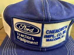Nos 70-80and039 Ford Tractors Equipment Farmer Trucker Hat Patch Mesh Cap K-brand Usa