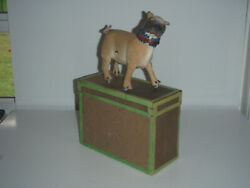 Antique Roullet And Decamp Windup French Pug Dog W/ Original Box, Key, Automaton