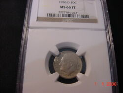1956d Roosevelt Dime Ms66 Ft Very Scarce