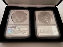 2021 American Silver Eagle Type 1 And Type 2 Ngc Ms70 With Leatherette Case