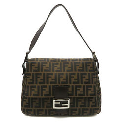 Pre-owned Fendi Zucca Mamma Bucket Shoulder Bag Brown Silver Canvas Leather F/s