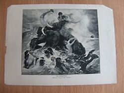 Lithographie The Mermaidens From The Picture By Arnold Bocklin Vintage Print