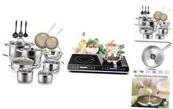 17pc Professional Stainless Steel Induction Cookware Set And Lcd Portable