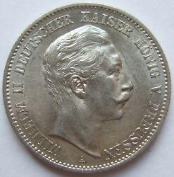 2 Mark Wilhelm Ii Prussia 1898 A In Extremely Fine / Brillant Uncirculated
