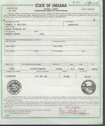 1951 Ford 2 Door Sedan Indiana Title Notarized And Embossed Historical Document