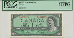 ✪ 1954 1 Bank Of Canada - Pcgs Unc 64ppq - Test Note Polymer