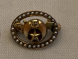 Vintage Masonic Shriners 14k Yellow Gold Brooch/pin With Pearls