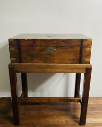 English | Wood Writing Box And Stand | Inlaid Brass Accents | Antique