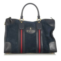 Pre-owned 459311 Sherry Boston Bag Navy Leather Suede Free Shipping