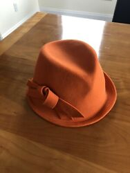 Anthropologie Amilia Wool Packable Fedora Orange One Size Made In Italy