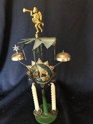 """Antique Tin Litho Christmas """"angel Bells"""" Candle Decoration, Rare, Early 1900's"""