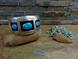 Master Piece Navajo Shadow Box 3 Kingman Turquoise Sterling Cuff Native Old Pawn