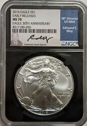 2016 Silver Eagle Ngc Ms 70 Early Releases 30th Anniversary Edmund Moy Signed