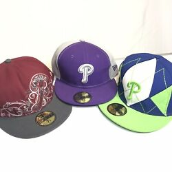 New Era Lot 3 Mlb Philadelphia Phillies 7 5/8 Fitted Hats Barely Worn Unique