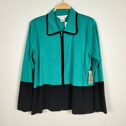Nwt Exclusively Misook Size Large Turquoise Jade Green Black Zip Up Jacket