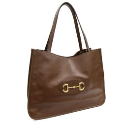 Pre-owned 623694 Horsebit 1955 Tote Bag Brown Leather Free Shipping