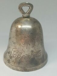 Vintage Leonard Epns Silverplated Christmas Bell With Angel 4