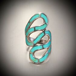 Vintage Southwestern Sterling Silver Turqouise Ring Size 7