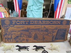 Vintage 1950and039s Marx Tin Lithograph Fort Dearborn Play Set Complete In Ob