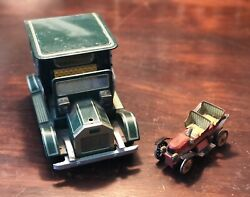 Vintage Japan Tin Battery Operated Toy Car And Push Car