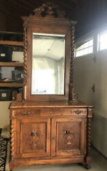 Antique 19th Century French Renaissance Carved Walnut Revival Hutch W/mirror