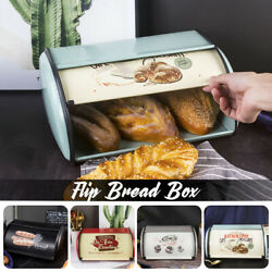 Roll Top Lid Bread Storage Box Dessert Snack Keeper Container Large Capacity