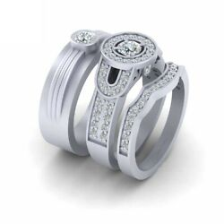 1.10cttw Diamond Halo Wedding Ring Band Set His And Hers 3pc Matching Couple Set