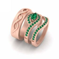Green Emerald Engagement Ring Band Set His And Hers Matching Couple Wedding Set