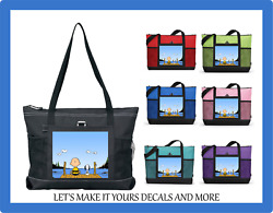 Peanuts Snoopy And Charlie Brown Sitting On The Dock Custom Tote Purse Zip Bag