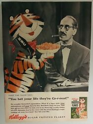 Vintage Kelloggandrsquos Frosted Flakes Ad With Tony The A Tiger And Groucho Marx