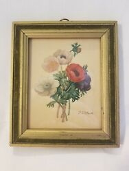 Original 1800and039s Pierre Joseph Redoute Flower Lithograph Vintage Antique Signed
