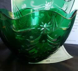 Lenox Cased Christmas Green Crystal Bowl W/box Andcoa Limited 024 Of 150 Mint Rare