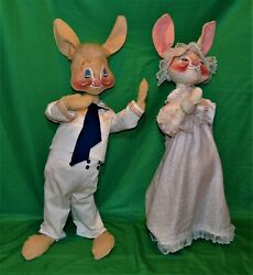 Vtg 1971 Annalee Mobilitee Dolls Mr. And Mrs. Bunny 37 Standing Figurines Rare