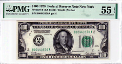 1928 Numerical 100 New York Federal Reserve Note Pmg 55 Epq About Uncirculated