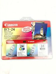 Canon Bci 24 Black Tri Color Ink Cartridge Combo Genuine Sealed New