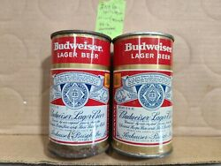 2 1950and039s Budweiser Flat Top Gold Split Label Beer Cans St. Louis And Newark