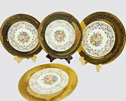 Set Of 4 Edwin M Knowles Semi Vitreous 22k Gold Warranted Plates 41-10 Floral