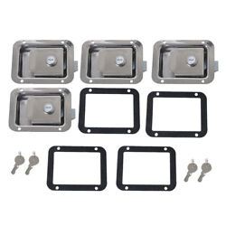 4 X Rv Yacht Stainless Steel Paddle Latch And Keys Andgasket Toolbox Flush Mount