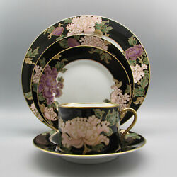 Fitz And Floyd China Cloisonne Peony Service For Four - 20pc Set