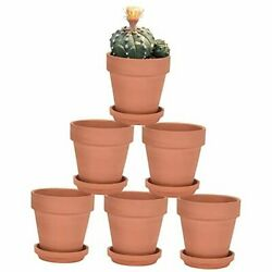 Terra Cotta Pots With Saucer - 6 Pack 5 Inch Clay Pot Ceramic 5 Inch Brown