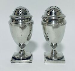 Pair Antique Georgian Solid Sterling Silver Salt Pepper Shakers Pepperettes 1793