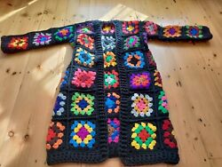 Lunique Crochet Chunky Long Traditional Granny Square Cardigan W Pockets 🌼