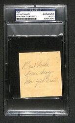 Willie Mays New York Giants Inscription Mid-1950s Vintage Signed Cut Psa Rare