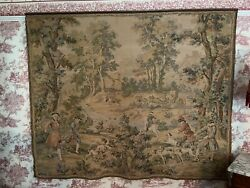 Large Antique Tapestry Wall Hanging  French Style 18th Century Scene 182cm