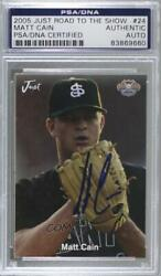 2005 Just Minors Stars Road To The Show Matt Cain 24 Psa/dna Certified Encased