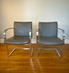 Set Of 2 1970s Cantilever Mies Van Der Rohe Brno Style Gray Chrome Chairs