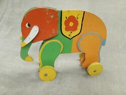 1920s Toy Kraft Studios Co Antique Wood Elephant Pull Toy Wooster Ohio