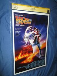 Back To The Future Cgc Ss Signed Movie Poster By Michael J Fox -marty Mcfly